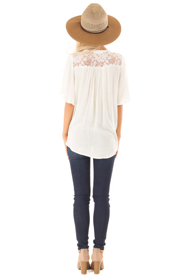 Cream Lace Surplice Top with Front Tassel Tie back full body
