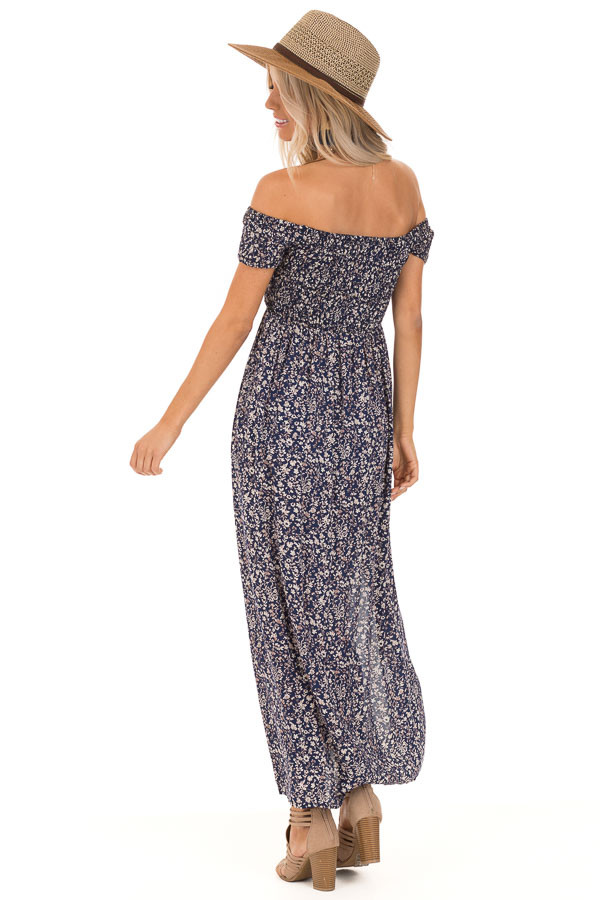 Navy Blue Floral Print Smocked Off the Shoulder Maxi Dress back full body