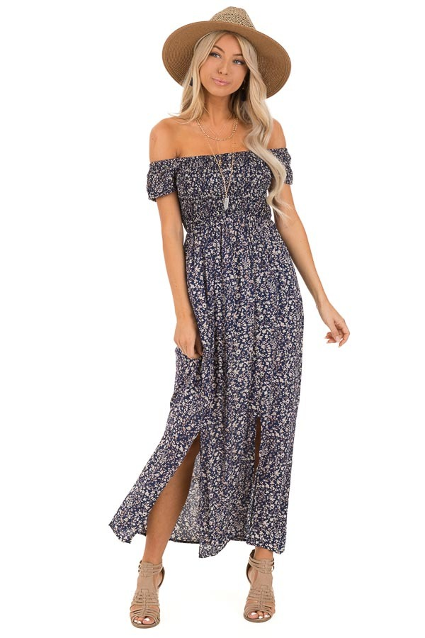 Navy Blue Floral Print Smocked Off the Shoulder Maxi Dress front full body