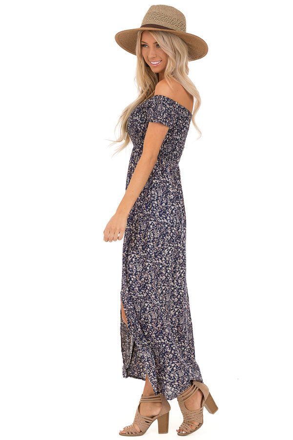 Navy Blue Floral Print Smocked Off the Shoulder Maxi Dress side full body