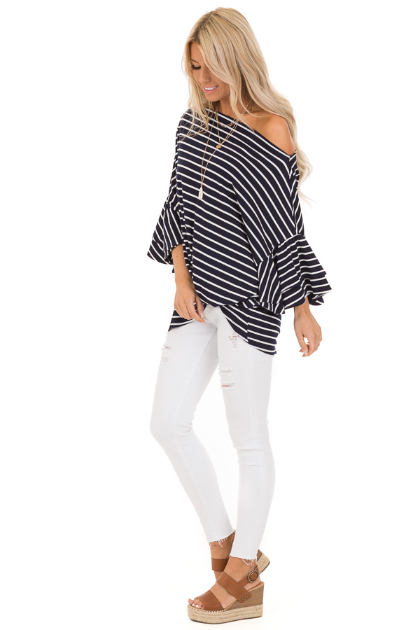 Navy and Ivory Striped Oversized Top with Front Twist side full body