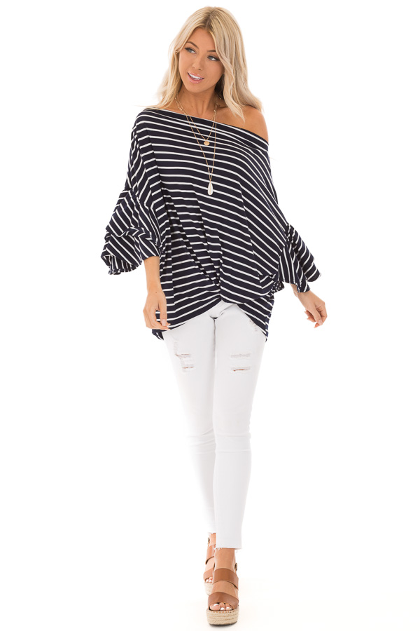 Navy and Ivory Striped Oversized Top with Front Twist front full body