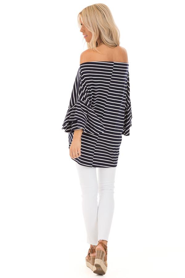 Navy and Ivory Striped Oversized Top with Front Twist back full body
