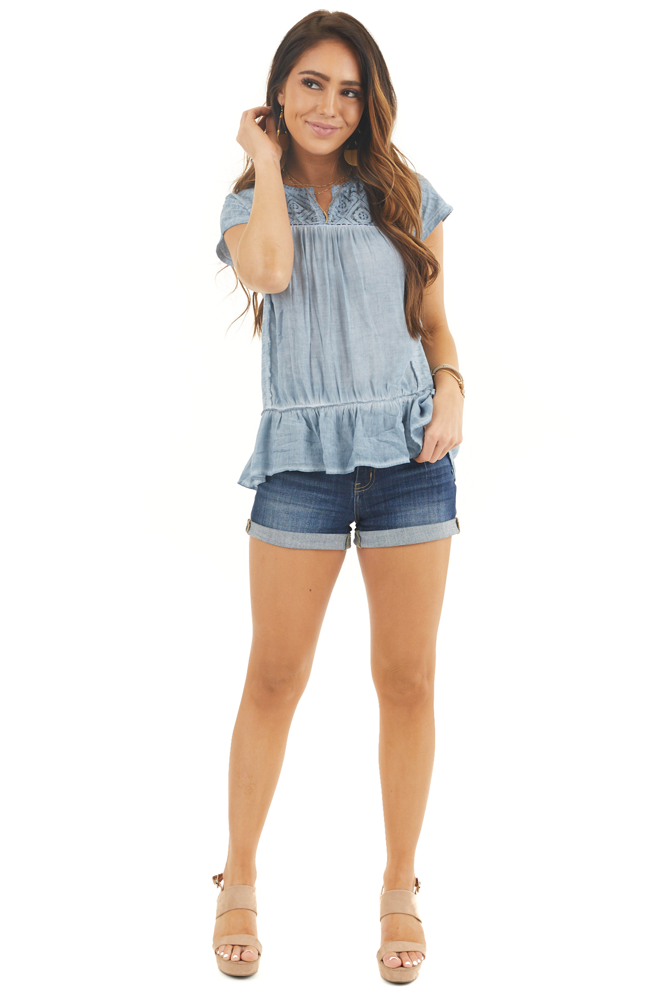 Antique Blue Sheer Lace Short Sleeve Top with Ruffle Hemline