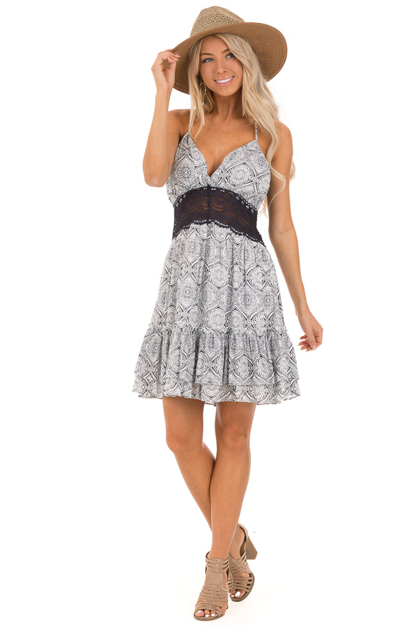 Midnight and Ivory Floral Print Dress with Sheer Lace Detail front full body