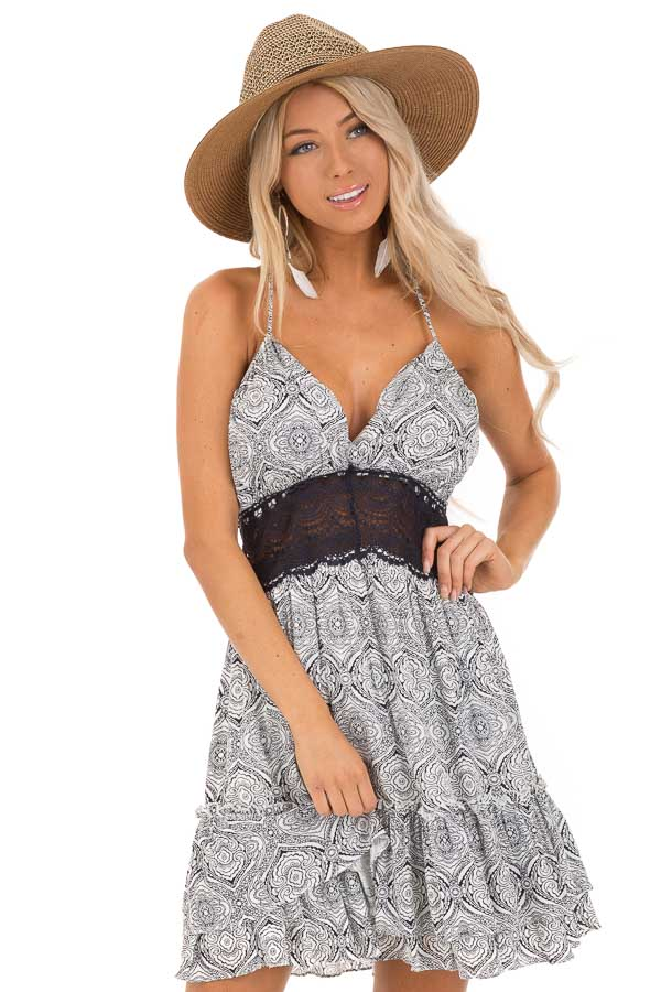 Midnight and Ivory Floral Print Dress with Sheer Lace Detail front close up