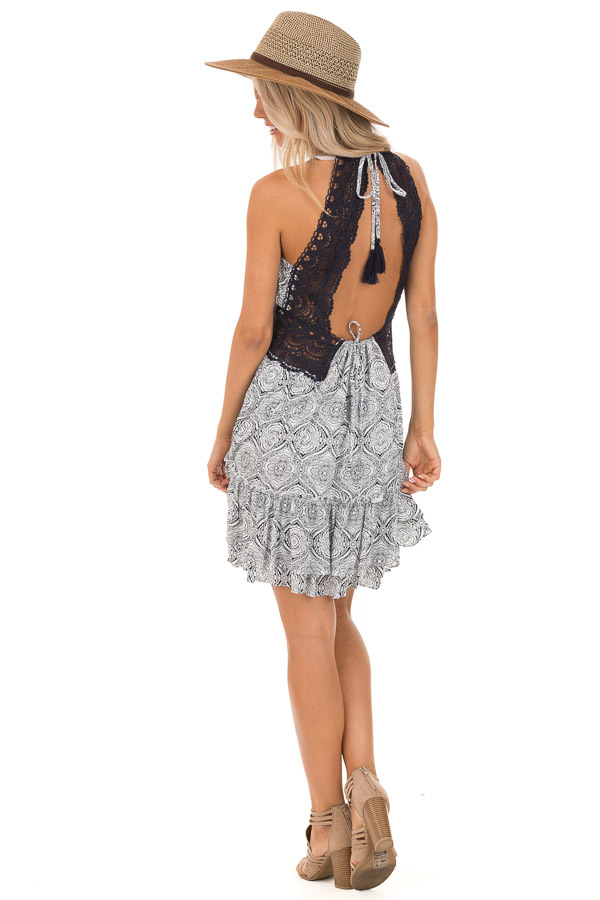 Midnight and Ivory Floral Print Dress with Sheer Lace Detail back full body