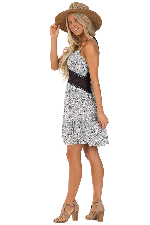 Midnight and Ivory Floral Print Dress with Sheer Lace Detail side full body