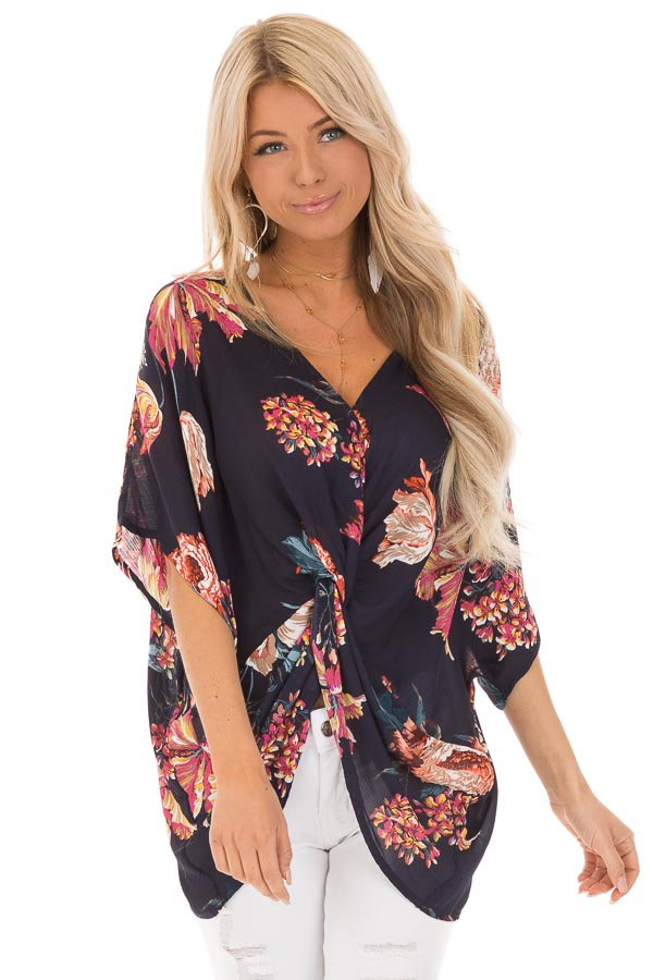 Midnight Navy Floral Print Reversible Top with Twist Detail front close up