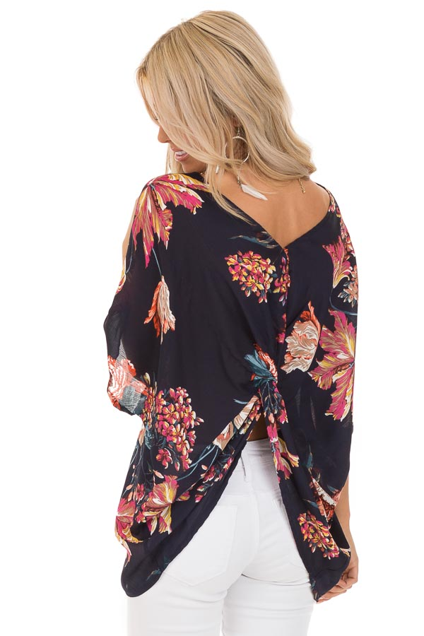 Midnight Navy Floral Print Reversible Top with Twist Detail back close up