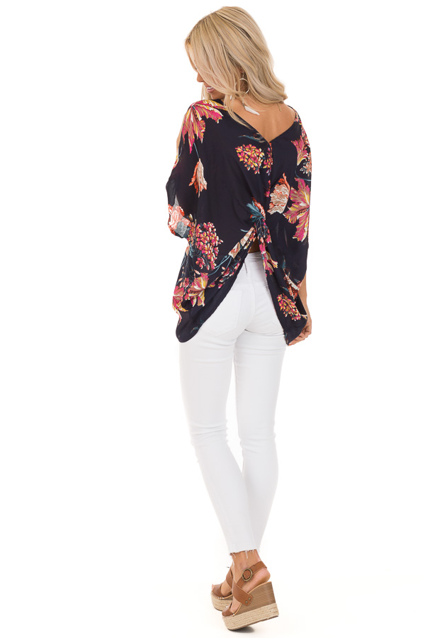 Midnight Navy Floral Print Reversible Top with Twist Detail back full body