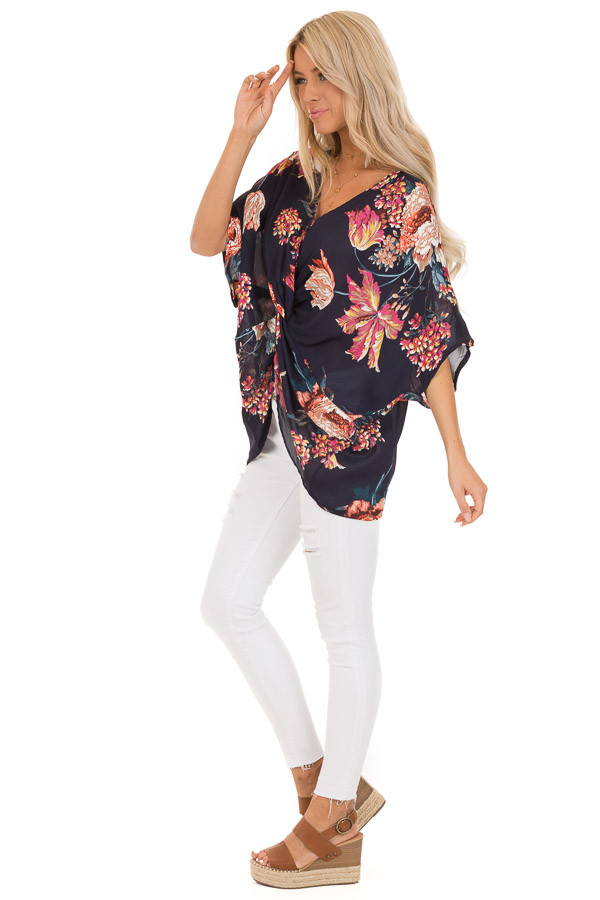 Midnight Navy Floral Print Reversible Top with Twist Detail side full body
