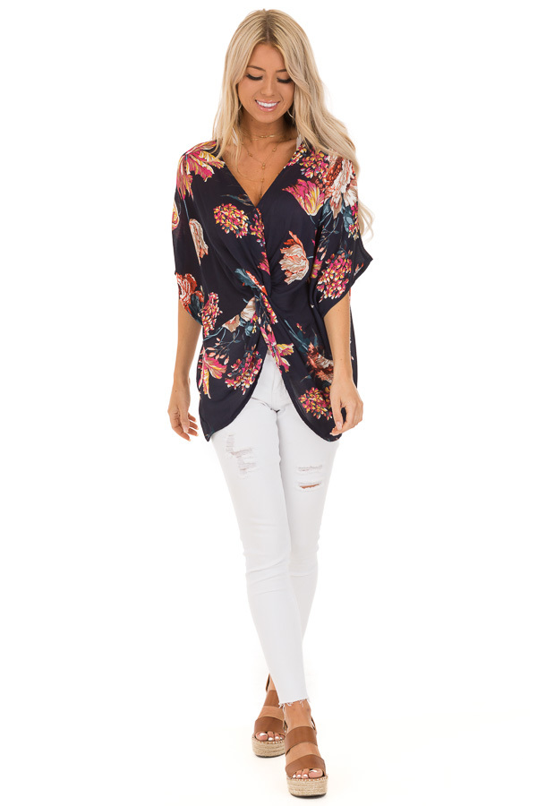 Midnight Navy Floral Print Reversible Top with Twist Detail front full body