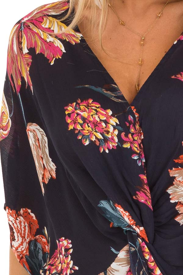 Midnight Navy Floral Print Reversible Top with Twist Detail detail