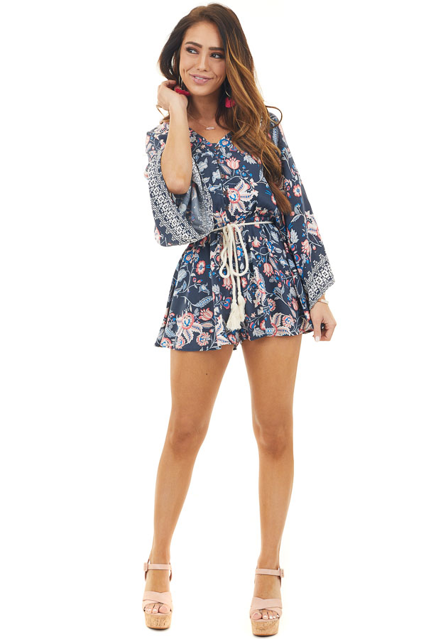 Navy and Blush Floral Print Romper with Long Wide Sleeves
