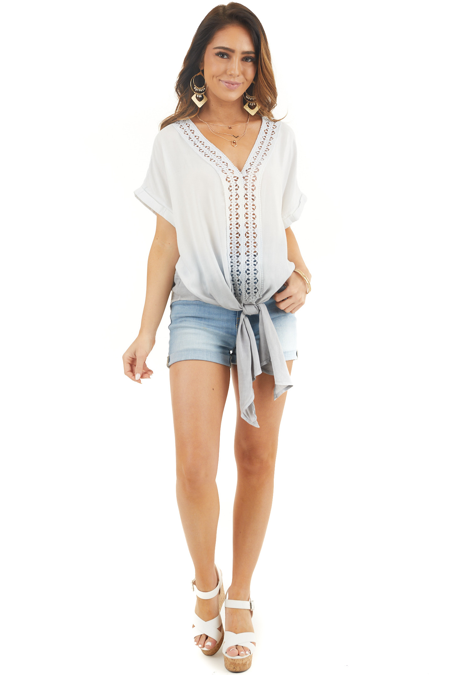 Faded Blue and Slate Ombre Top with Crochet Detail and Tie