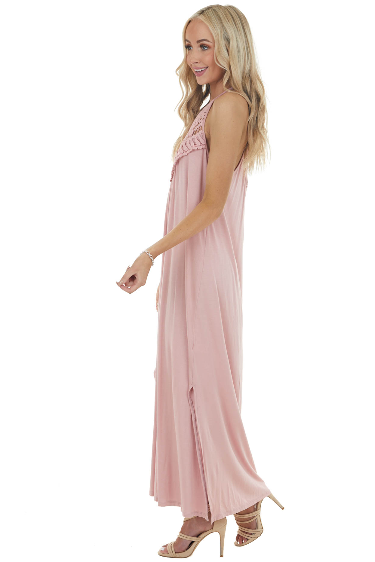 Carnation Pink Spaghetti Strap Maxi Dress with Lace Detail
