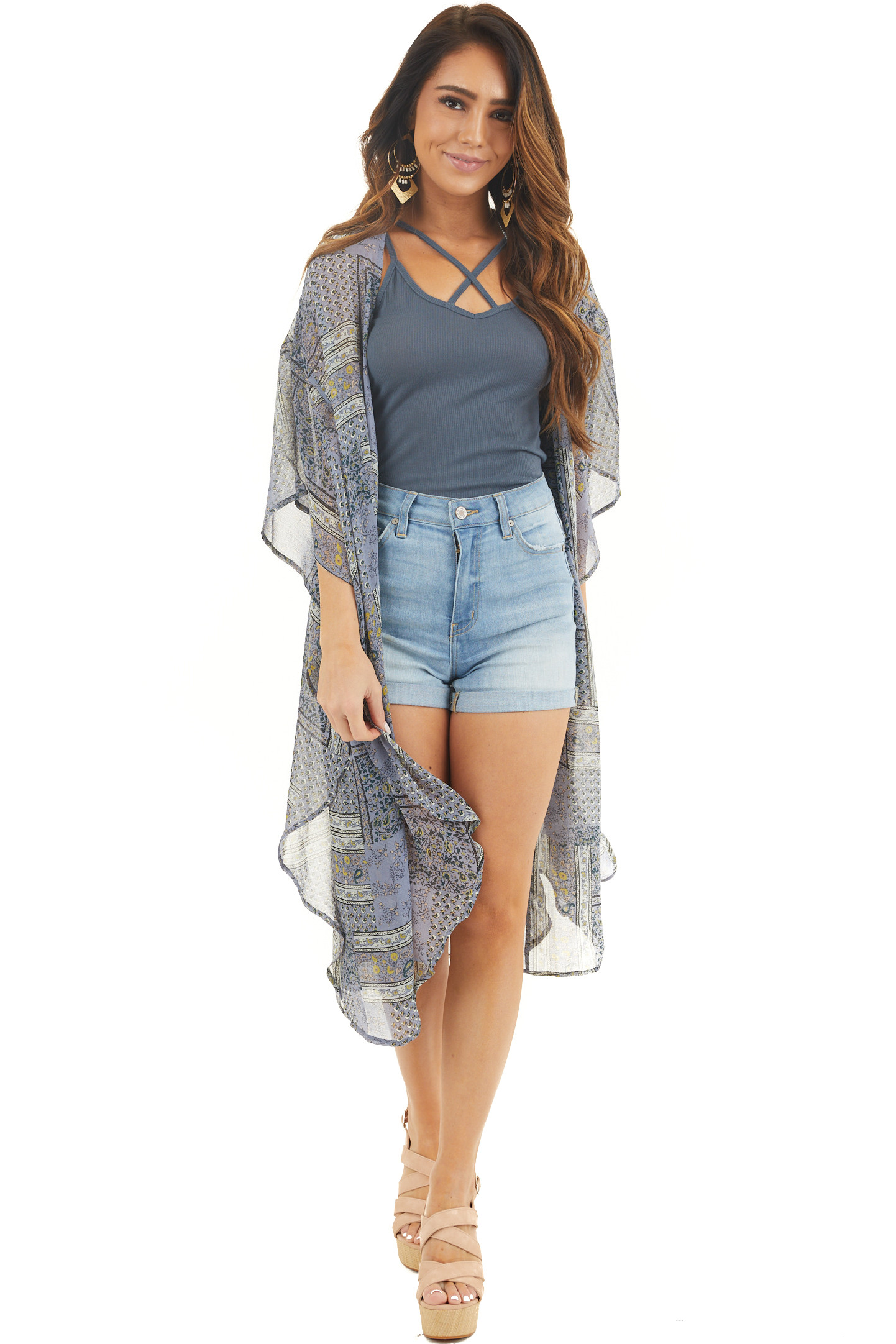 Dusty Blue Floral Print Long Open Front Sheer Kimono