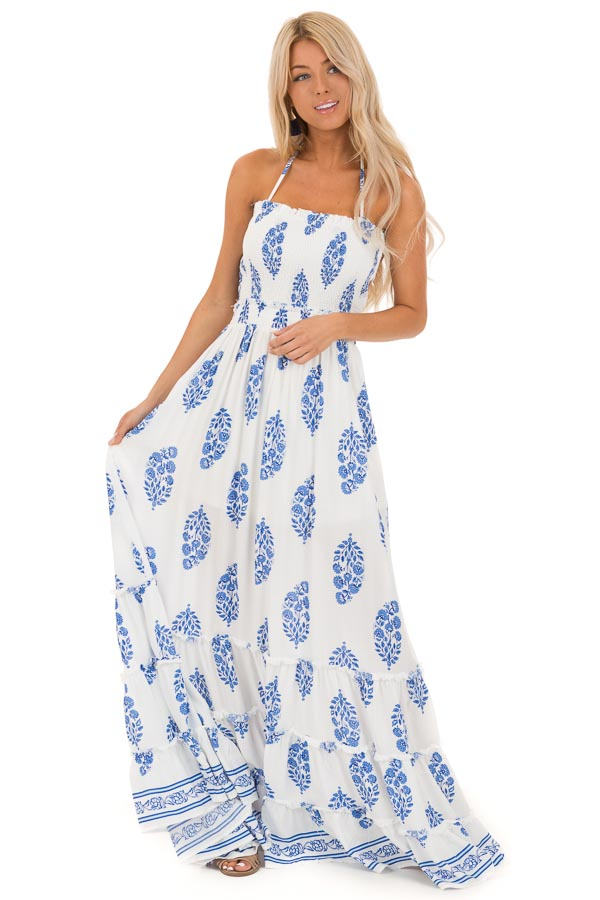 b1997db9aa Cotton and Cobalt Blue Floral Maxi with Lace Up Back Detail front full body