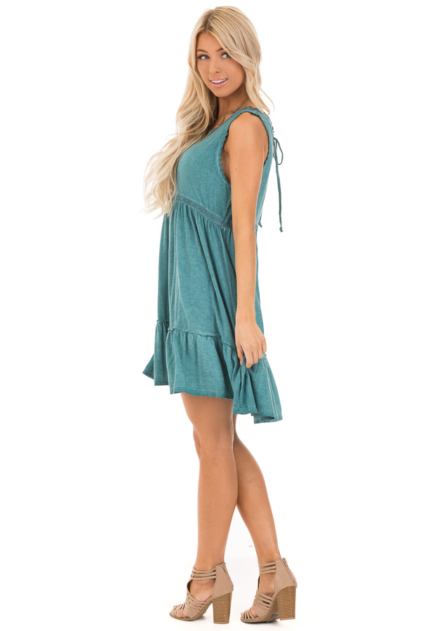 Aqua Washed Dress with Lace Detail and Crisscross Back side full body