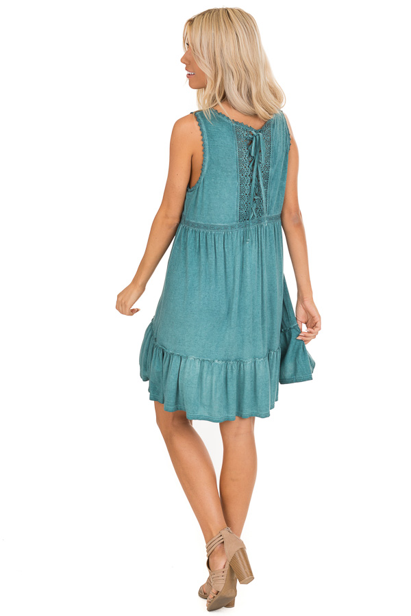 Aqua Washed Dress with Lace Detail and Crisscross Back back full body