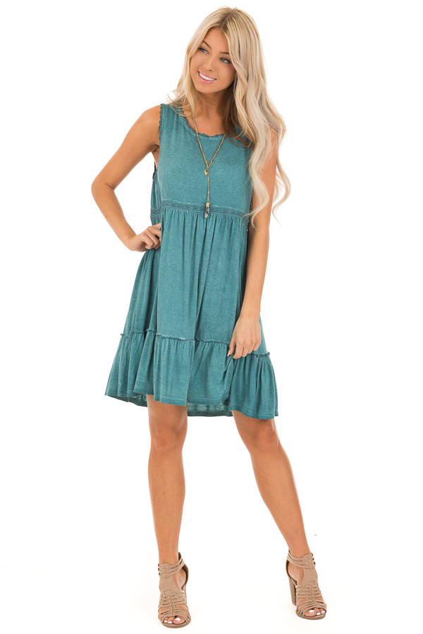 Aqua Washed Dress with Lace Detail and Crisscross Back front full body