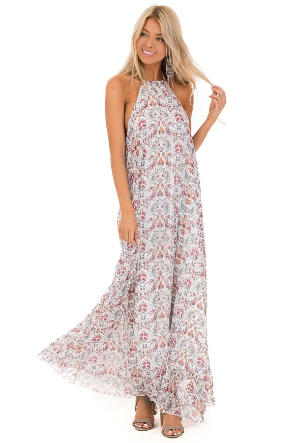 1ae9a2886c Cloud White Floral Print Halter Top Backless Maxi Dress front full body