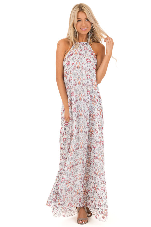 Cloud White Floral Print Halter Top Backless Maxi Dress front full body