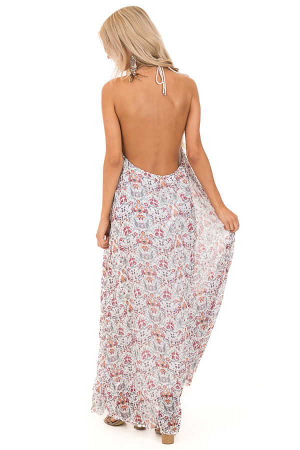 Cloud White Floral Print Halter Top Backless Maxi Dress back full body