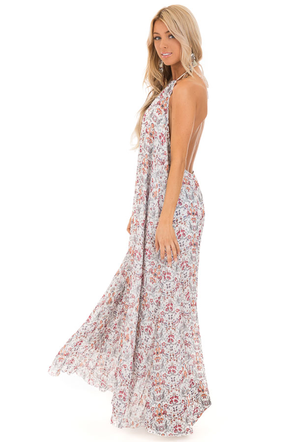 Cloud White Floral Print Halter Top Backless Maxi Dress side full body