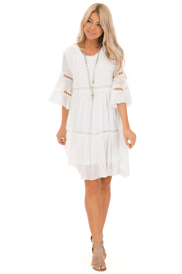 Cotton White 3/4 Bell Sleeve Dress with Lace Details front full body