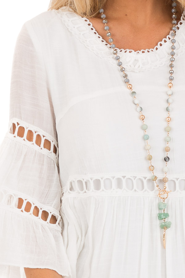 Cotton White 3/4 Bell Sleeve Dress with Lace Details detail