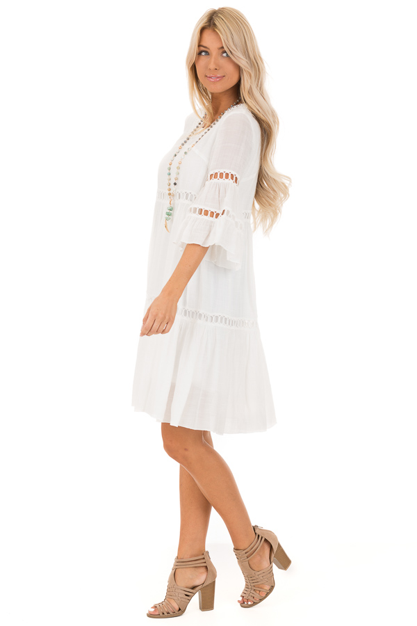 Cotton White 3/4 Bell Sleeve Dress with Lace Details side full body