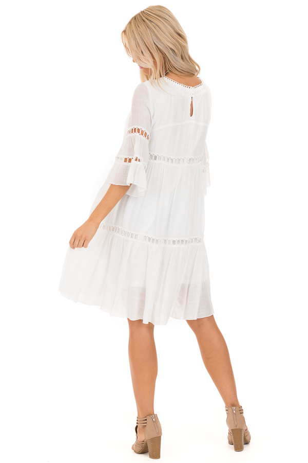 Cotton White 3/4 Bell Sleeve Dress with Lace Details back full body
