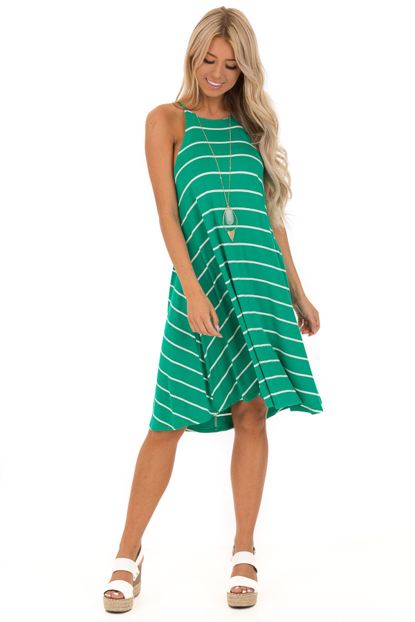 Kelly Green and Ivory Striped High Neck Swing Tank Dress front full body