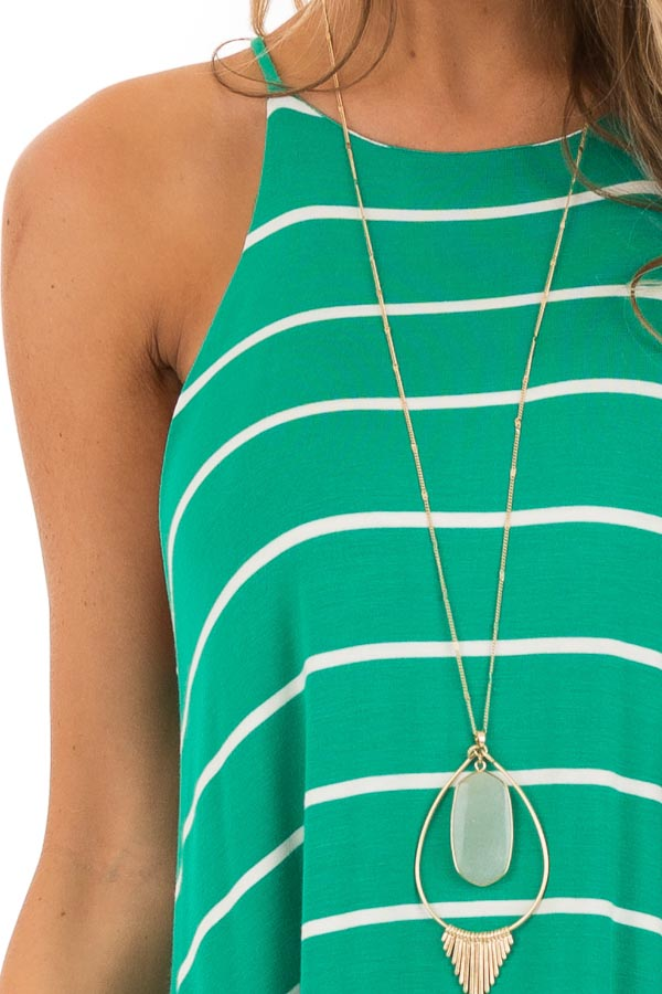 Kelly Green and Ivory Striped High Neck Swing Tank Dress detail
