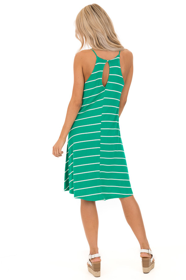 Kelly Green and Ivory Striped High Neck Swing Tank Dress back full body