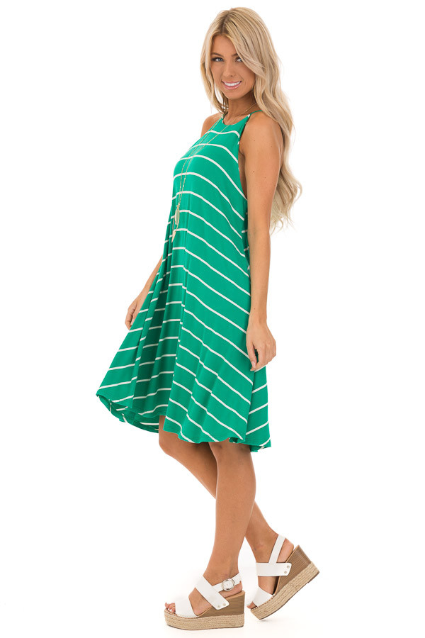 Kelly Green and Ivory Striped High Neck Swing Tank Dress side full body