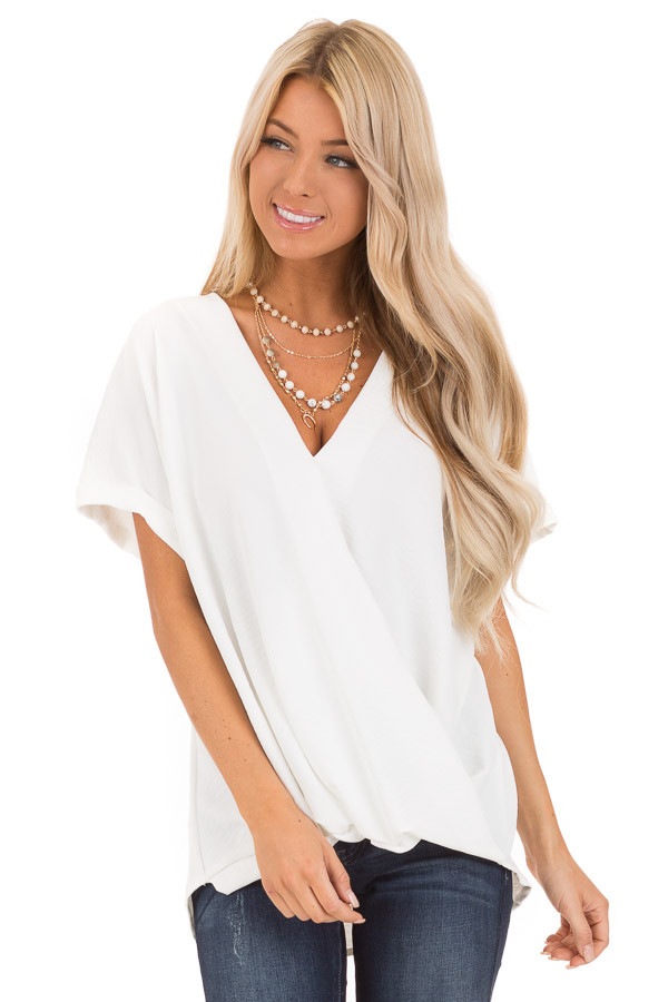 Coconut V Neck Surplice Top with Short Cuffed Sleeves front close up