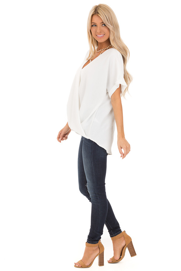 Coconut V Neck Surplice Top with Short Cuffed Sleeves side full body