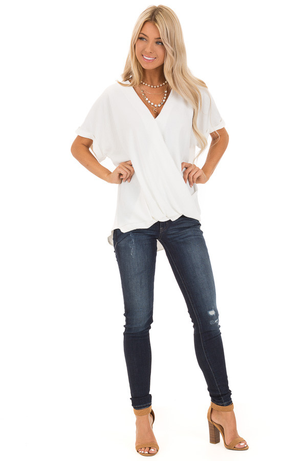Coconut V Neck Surplice Top with Short Cuffed Sleeves front full body