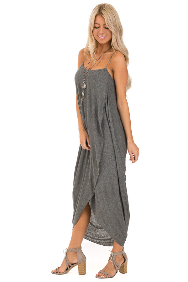 547dacbbbb1d Heathered Charcoal Wrap High Low Midi Dress - Lime Lush Boutique
