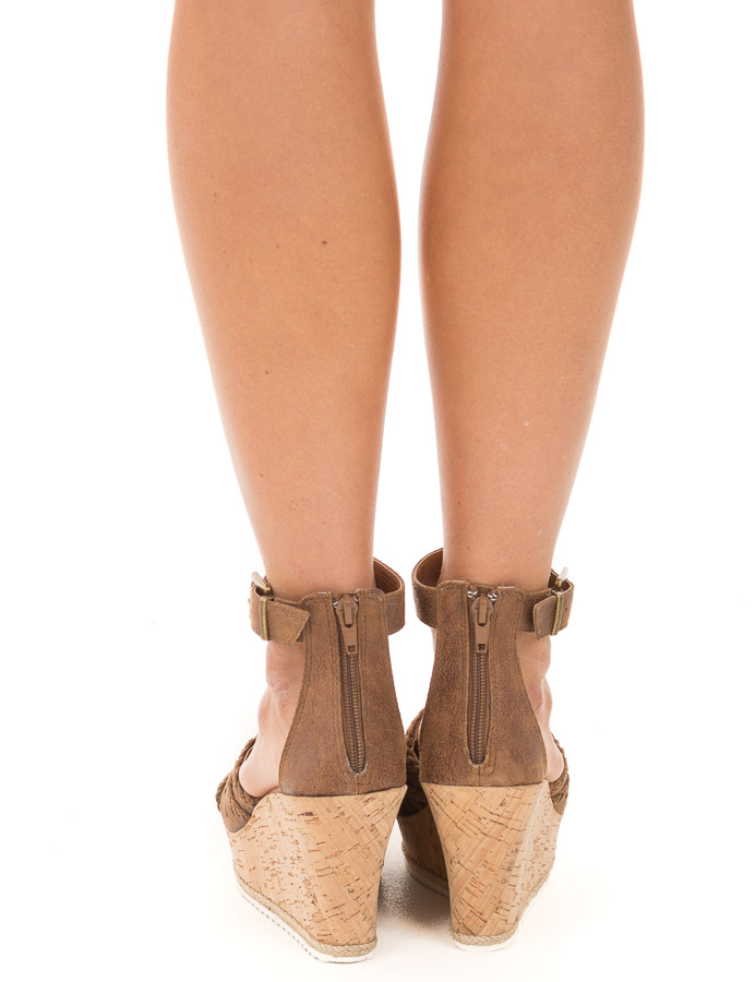 Walnut Faux Leather Open Toe Cork Wedge Sandal back view