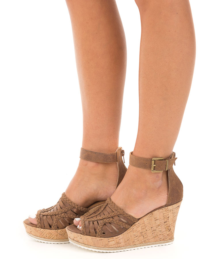Walnut Faux Leather Open Toe Cork Wedge Sandal side view