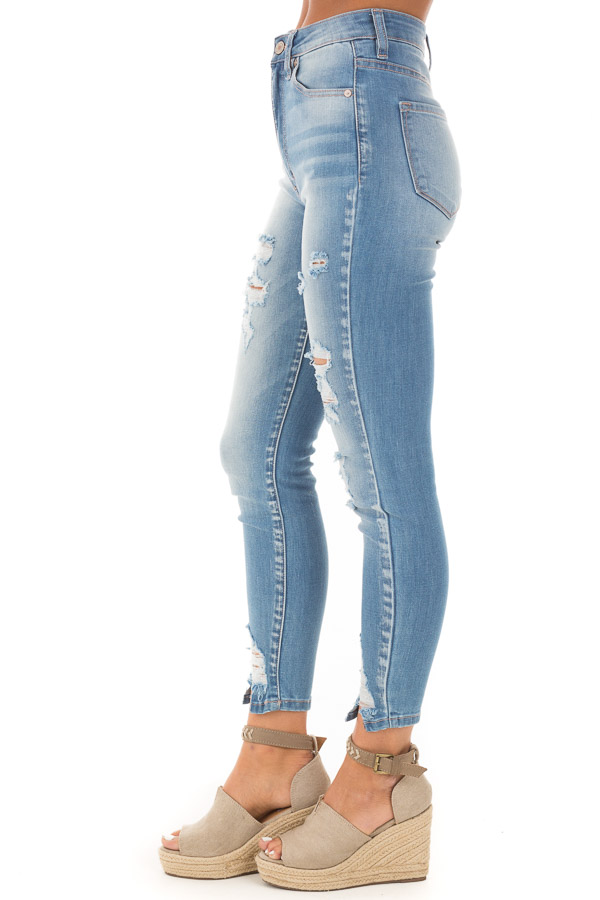 Light Wash Mid Rise Distressed Denim Skinny Jeans side view