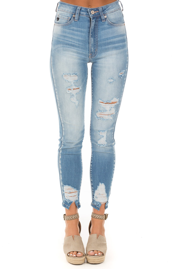 Light Wash Mid Rise Distressed Denim Skinny Jeans front view