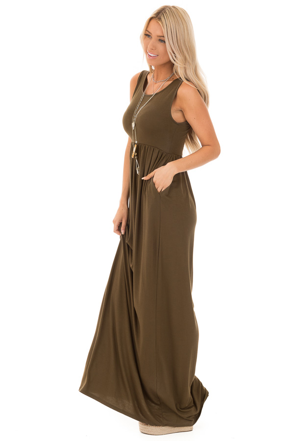 Deep Olive Sleeveless Maxi Dress with Side Pockets side full body