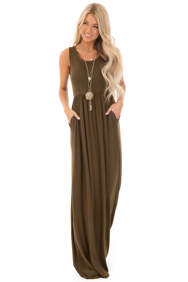 Deep Olive Sleeveless Maxi Dress with Side Pockets front full body