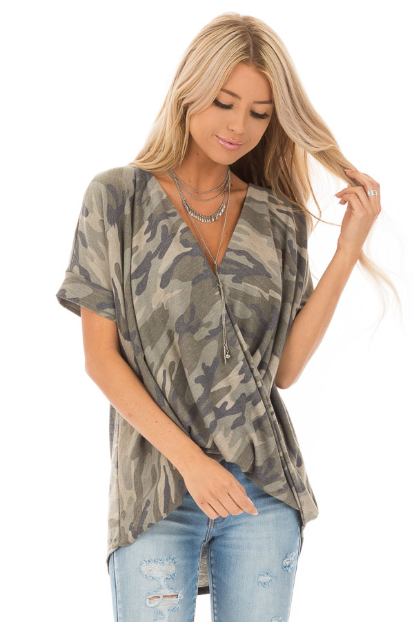 Olive and Sage Camouflage Print Surplice Bubble Hem Top front close up