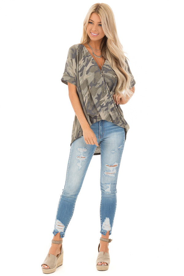 Olive and Sage Camouflage Print Surplice Bubble Hem Top front full body